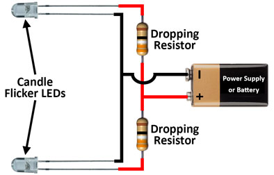 Candle Flicker LED - Multiple LEDs running from a battery or power supply