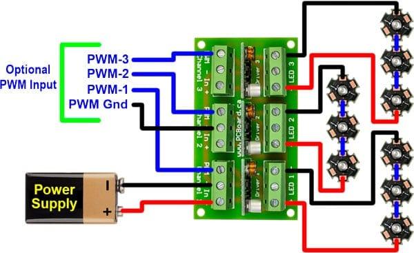 High Power LED Driver Board For 1 or 3 Watt LEDs - Advanced PWM Control