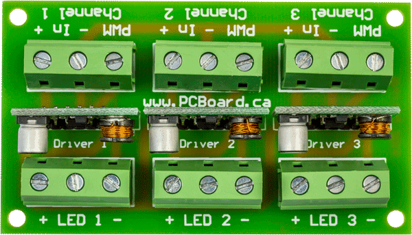 High Power LED Driver Board For 1 or 3 Watt LEDs - Top View