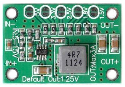 Mini adjustable power module showing easy connection and 5v, 3.3v, 2.5v, 1.8v and 1.5v jumpers - Front View