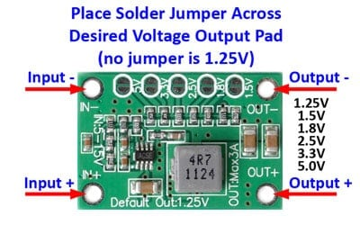 Mini adjustable power module - detailed hookup and jumper information